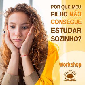Banner do Workshop de mulher preocupada com as mãos no queixo